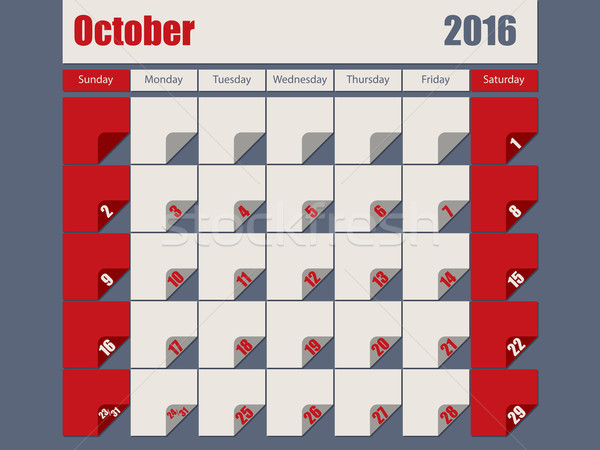 Gray Red colored 2016 october calendar Stock photo © vipervxw