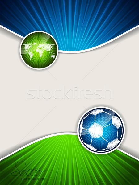 Foto stock: Abstrato · futebol · folheto · azul · bola · verde