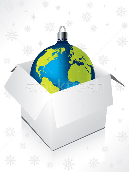 Boxed blue globe decoration Stock photo © vipervxw