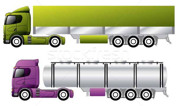 European trucks with trailers  Stock photo © vipervxw