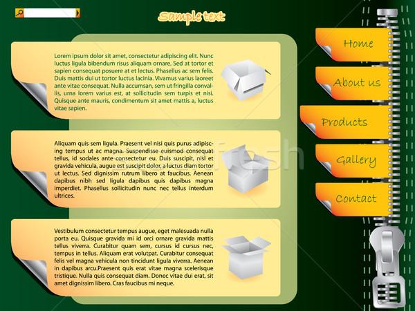 Etiketler web sitesi şablon fermuar dizayn katlanmış Stok fotoğraf © vipervxw
