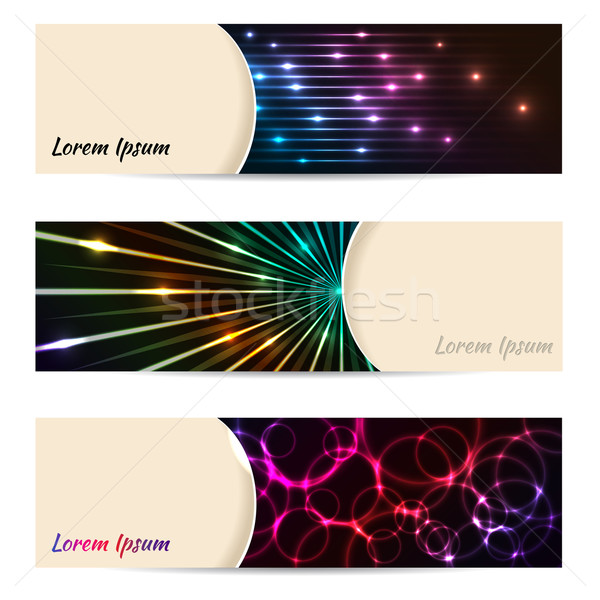 Cool banner set of 3 with bursting laser plasma  Stock photo © vipervxw