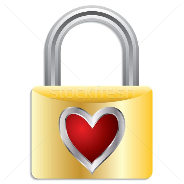 Kłódki serca metaliczny biały Internetu para Zdjęcia stock © vipervxw