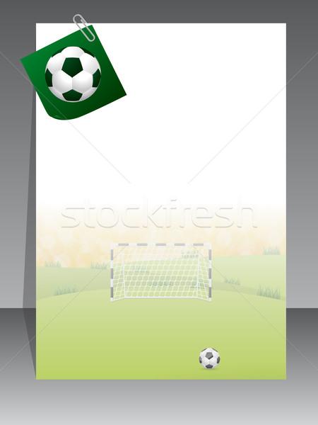 Voetbal brochure schrijfpapier bal voetbal achtergrond Stockfoto © vipervxw