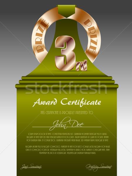 Derde plaats bronzen prijs gunning certificaat Stockfoto © vipervxw