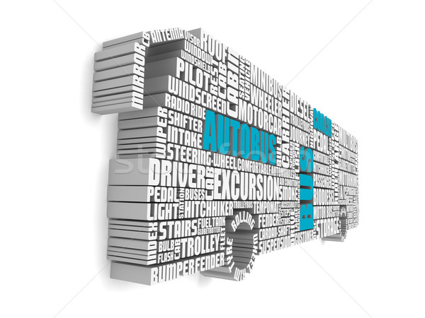 3d group of blue white words shaping a passenger bus Stock photo © vipervxw