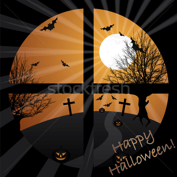 Halloween view from a window in moonlight  Stock photo © vipervxw
