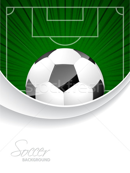 Abstract soccer brochure with bursting ball and field Stock photo © vipervxw