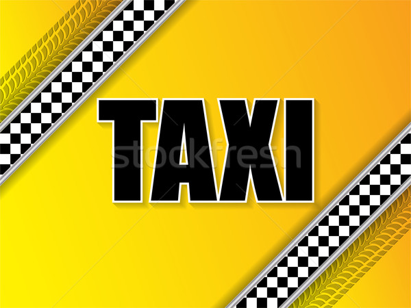 Taxi company advertising with tire tread and metallic elements Stock photo © vipervxw