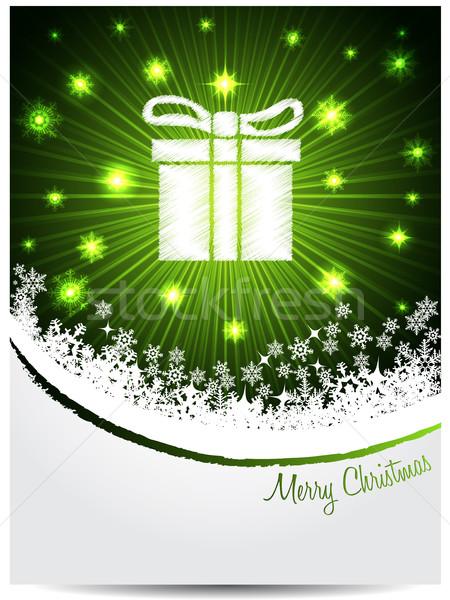 Vert blanche Noël accueil coffret cadeau carte de vœux Photo stock © vipervxw