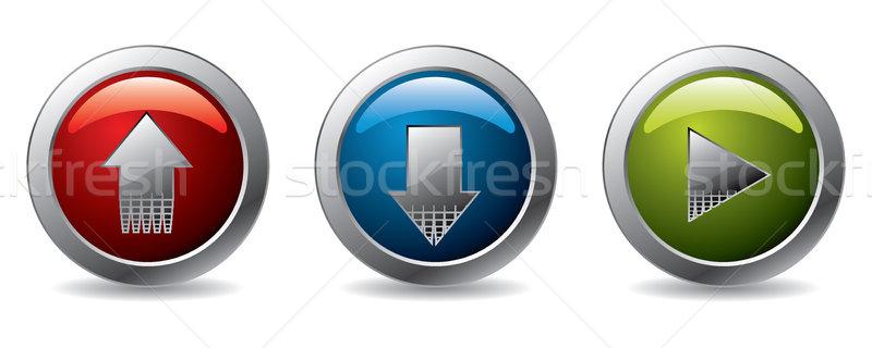 アップロード ダウンロード 再生 ボタン 白 影 ストックフォト © vipervxw