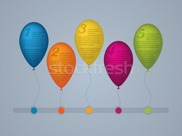 Infographic template with numbered balloons  Stock photo © vipervxw
