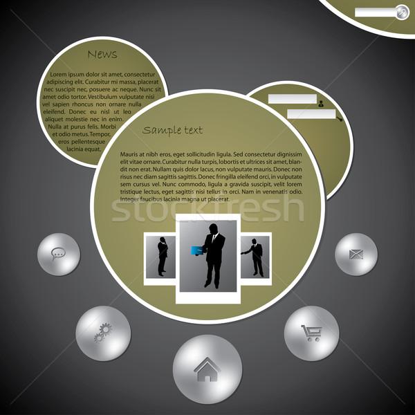 Bulle conception de site web modèle métallique boutons affaires Photo stock © vipervxw