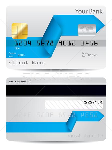 Flèche ruban carte de crédit design bleu sécurité Photo stock © vipervxw