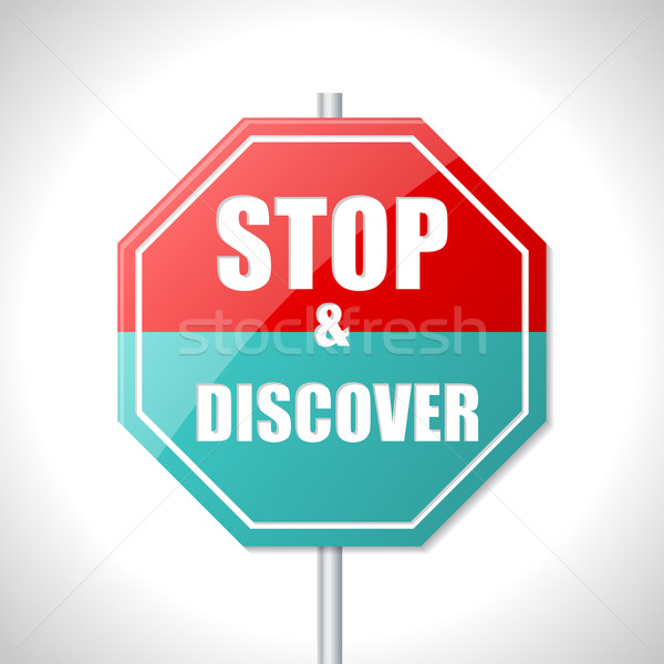Stop and discover traffic sign Stock photo © vipervxw