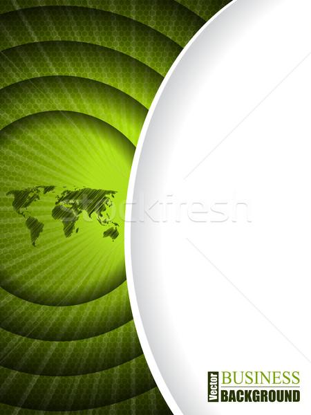 Vert affaires brochure design carte ondulation Photo stock © vipervxw