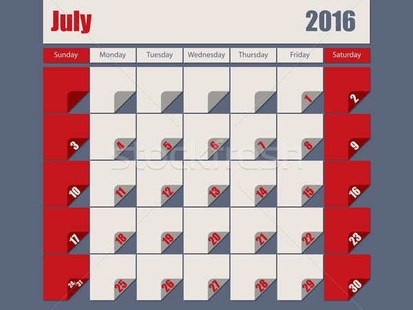 Gray Red colored 2016 july calendar Stock photo © vipervxw