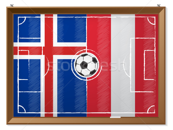 Soccer field with austrian and iceland flag Stock photo © vipervxw