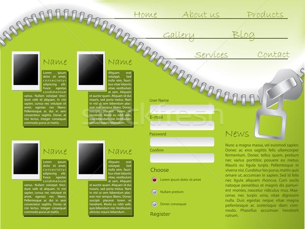 Web sitesi şablon fermuar dizayn yeşil fotoğrafları Stok fotoğraf © vipervxw