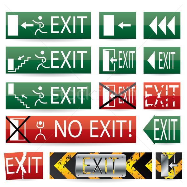 Unterschiedlich verlassen Zeichen exit sign Designs glühen Stock foto © vipervxw