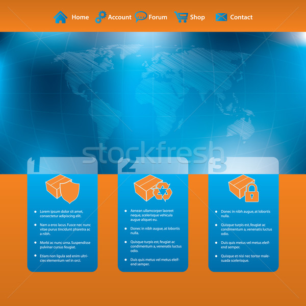 Website template design with products and scribbled map Stock photo © vipervxw