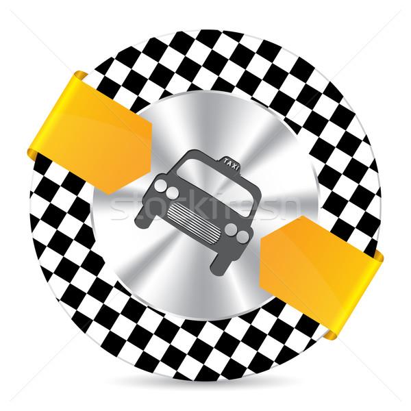 Metallic taxi badge with checkered background Stock photo © vipervxw