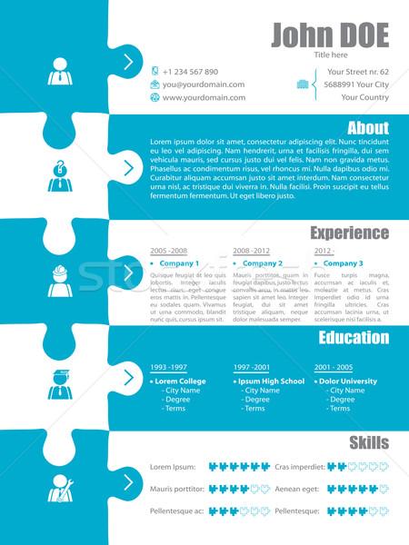 Puzzle resume design Stock photo © vipervxw