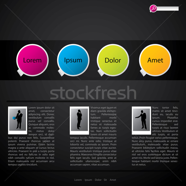 Website template design with pictures Stock photo © vipervxw