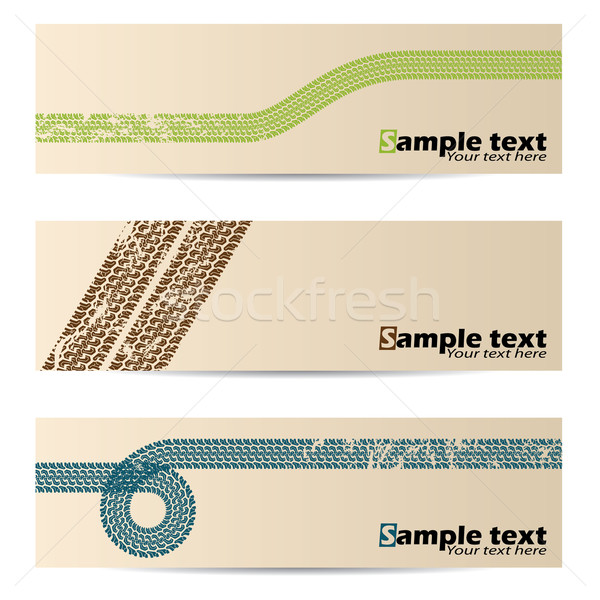 Cool retro banners with tire tracks Stock photo © vipervxw