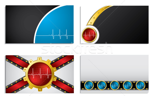 Business card set with ekg symbol  Stock photo © vipervxw