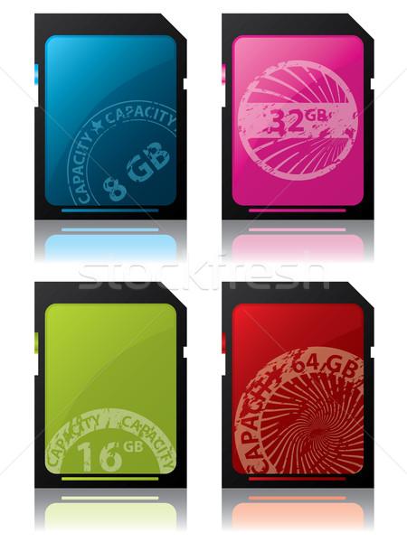 Kártyák grunge címkék színes fóka textúra Stock fotó © vipervxw