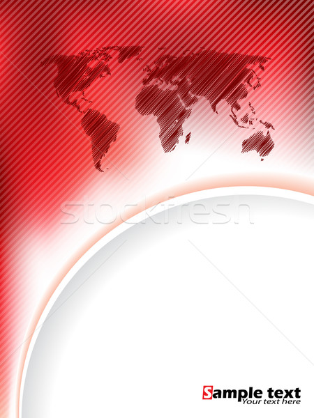Striped red brochure design with scribbled map Stock photo © vipervxw