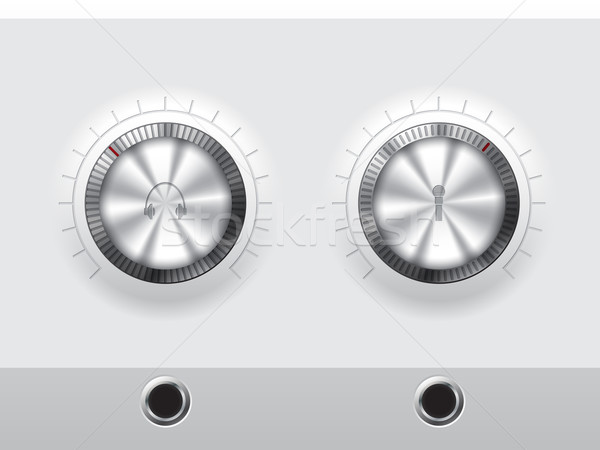 Volume knobs for headphones and microphone with wite plate Stock photo © vipervxw