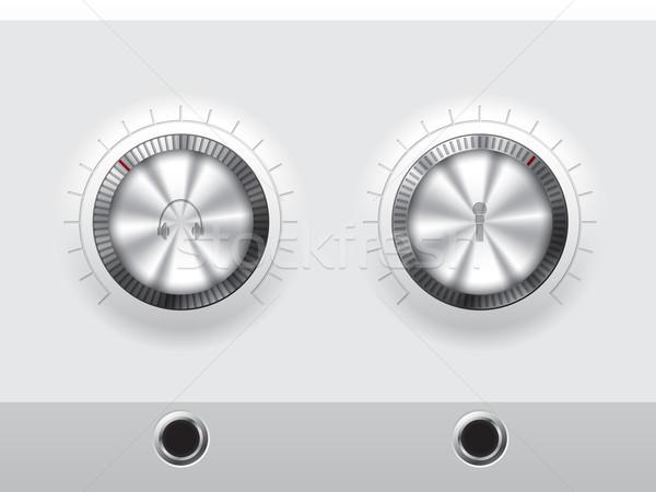 Hacim kulaklık mikrofon plaka dış güç Stok fotoğraf © vipervxw