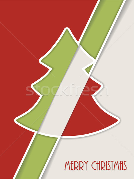 Simplistic christmas greeting with white line tree and shadow Stock photo © vipervxw