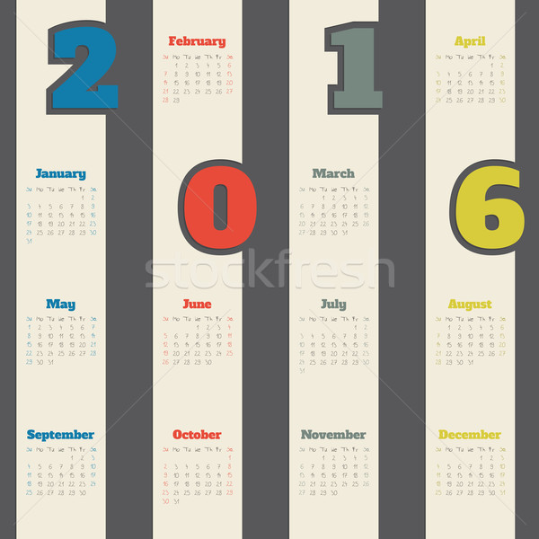 Cool calendrier coloré nombre 2016 design Photo stock © vipervxw