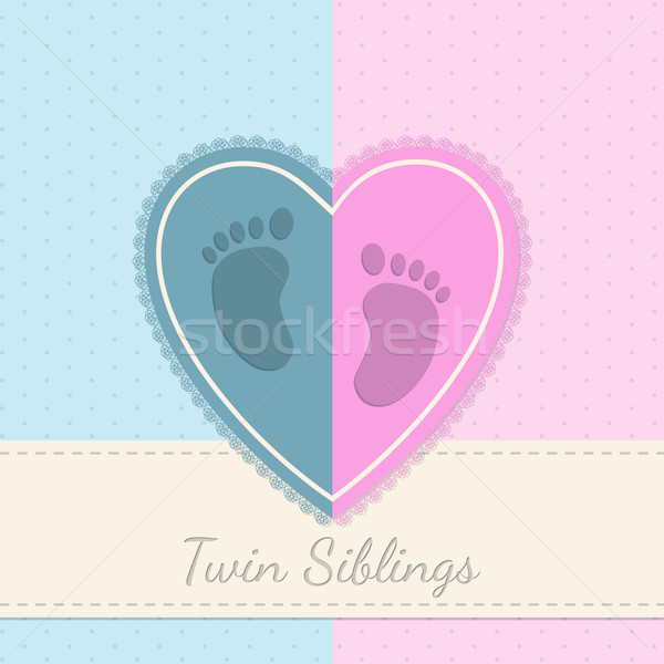 Blue pink baby shower twin siblings invitation  Stock photo © vipervxw