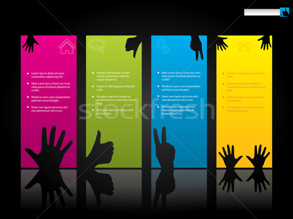 Website template design with hand symbols Stock photo © vipervxw