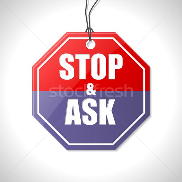 Pare perguntar sinaleiro branco tráfego imprensa Foto stock © vipervxw
