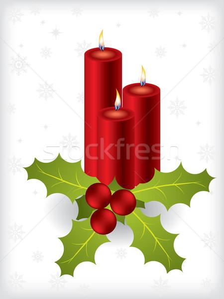 Candles with mistletoe Stock photo © vipervxw