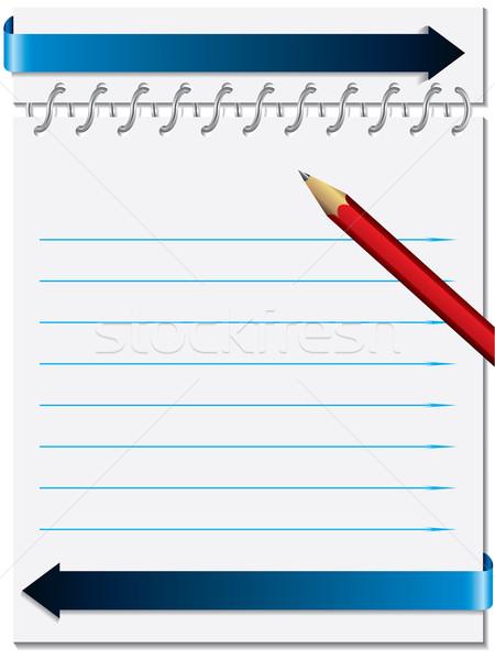 Schrijfpapier metalen ring potlood Rood achtergrond Stockfoto © vipervxw