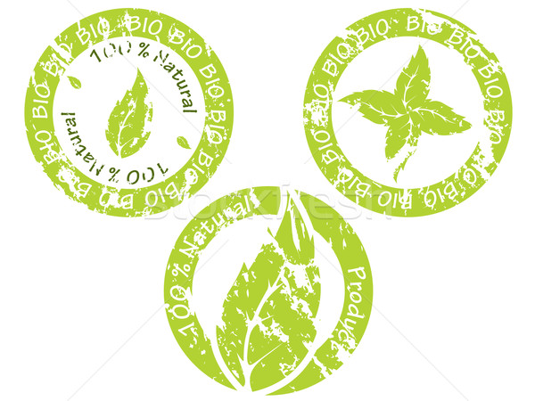 Zöld bio fóka gyűjtemény három fehér Stock fotó © vipervxw