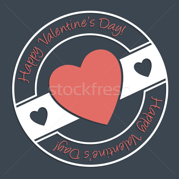 Gelukkig valentijnsdag stempel ontwerp donkere hart Stockfoto © vipervxw