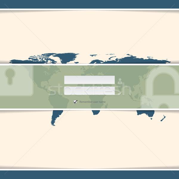 Stílusos bejelentkezés képernyő világtérkép földgömb térkép Stock fotó © vipervxw