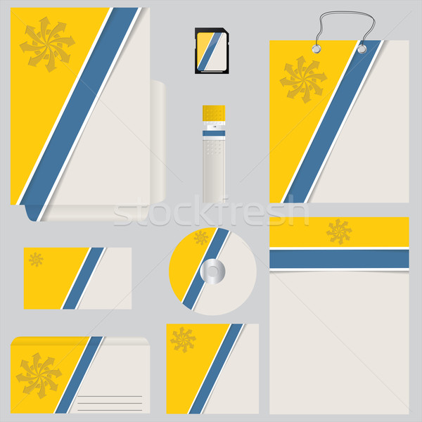 Blue yellow business set with striped design Stock photo © vipervxw