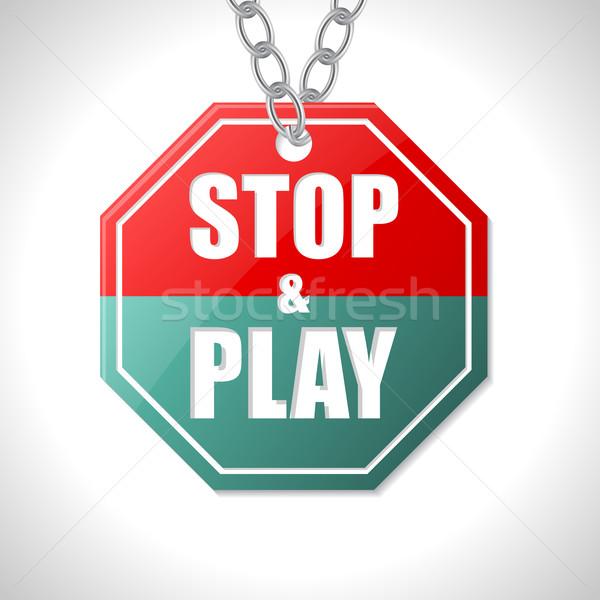 Pare jogar sinaleiro branco rua vermelho Foto stock © vipervxw