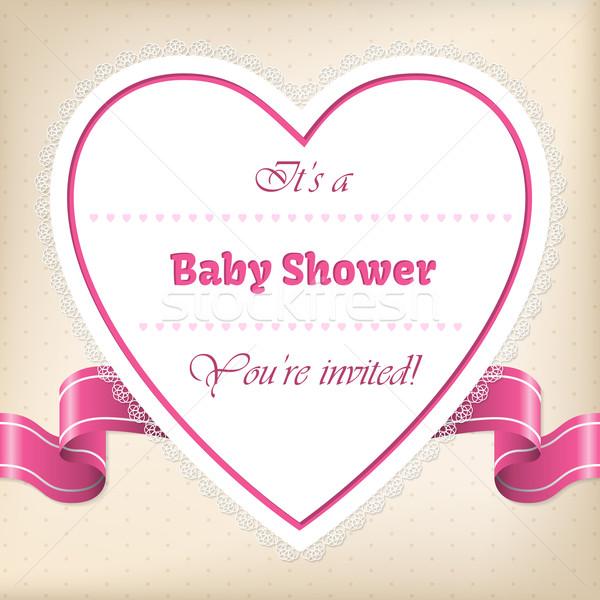 Bebek duş tebrik kalp şerit tebrik kartı Stok fotoğraf © vipervxw