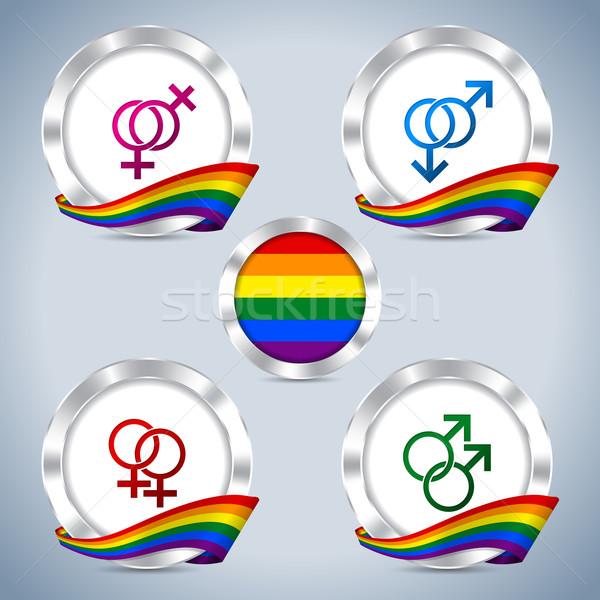 Métallique badges gay fierté ruban symboles Photo stock © vipervxw