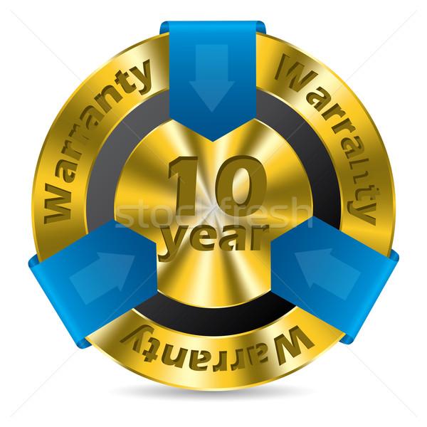 10 rok gwarancja odznakę projektu złota Zdjęcia stock © vipervxw