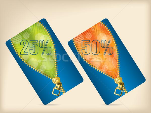 Gift card ingesteld Blauw oranje groene kleuren Stockfoto © vipervxw